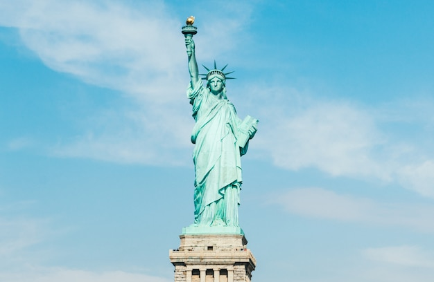 Front view of statue of liberty in new york (usa) Premium Photo