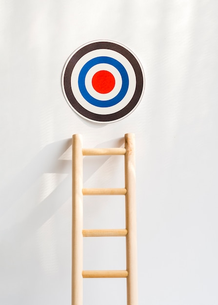 Front view of target with wooden ladder Free Photo