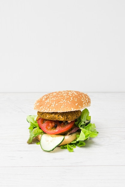 Front view vegan burger with copy space Free Photo