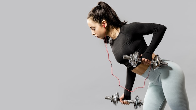 Front view of woman doing exercises Free Photo