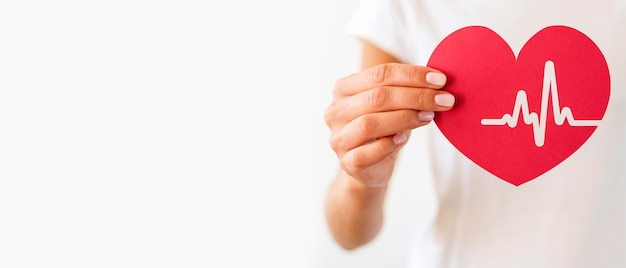 Front view of woman holding paper heart with heartbeat Free Photo