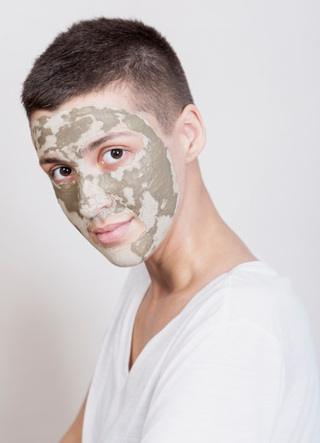 Front view woman with face mask Free Photo