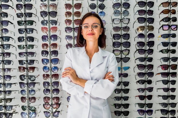 Front view of woman with sunglasses display Free Photo