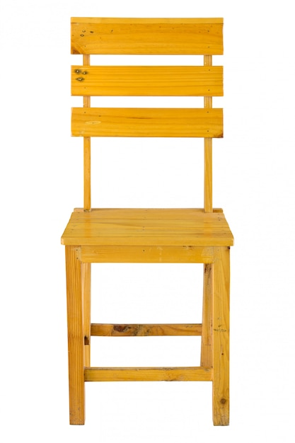 Front view of wooden chair isolated on white with clipping path Premium Photo