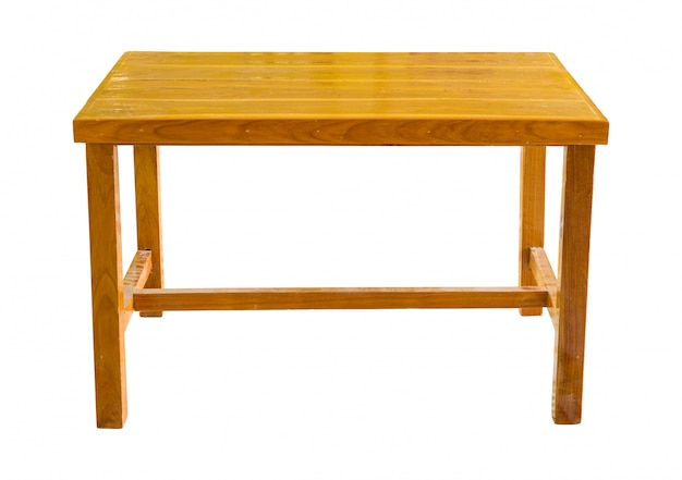 Front view of wooden table isolated on white with clipping path Premium Photo