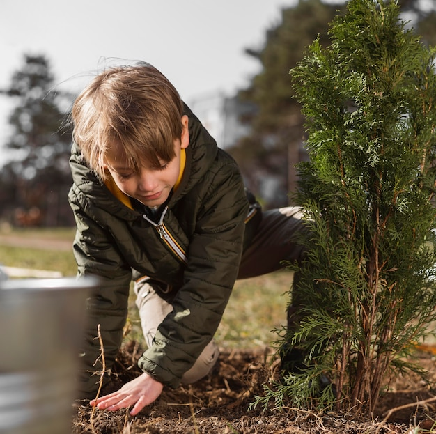Front view of young boy planting a tree outdoors Free Photo