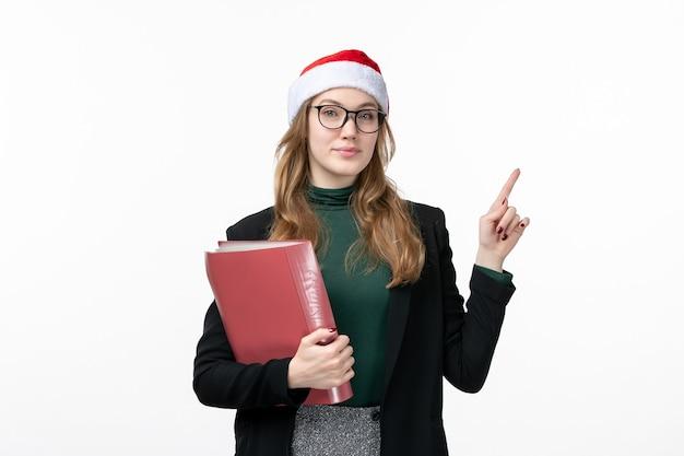 파일 책 학교 대학 전면보기 젊은 여자 학생 무료 사진
