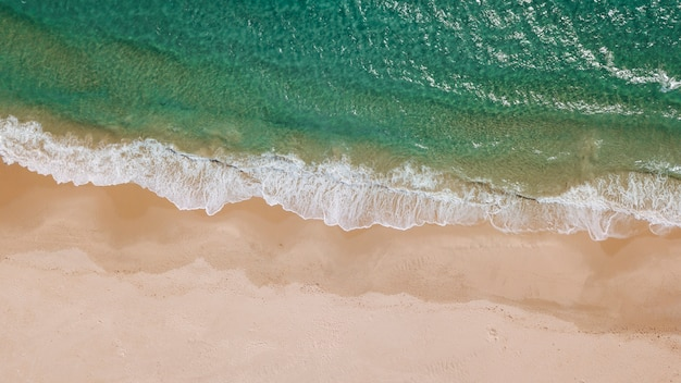 Frothy waves and sandy beach from above Free Photo