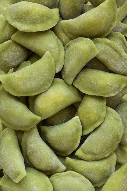 Frozen dumplings texture in a market fridge Premium Photo
