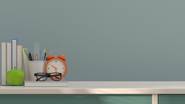 Fruit apple and pen and books table clock colorful education concept Premium Photo