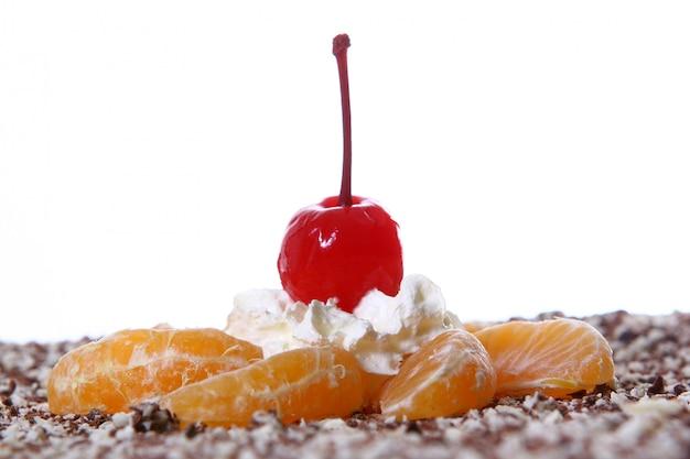 Fruit cake with desert cherry Free Photo