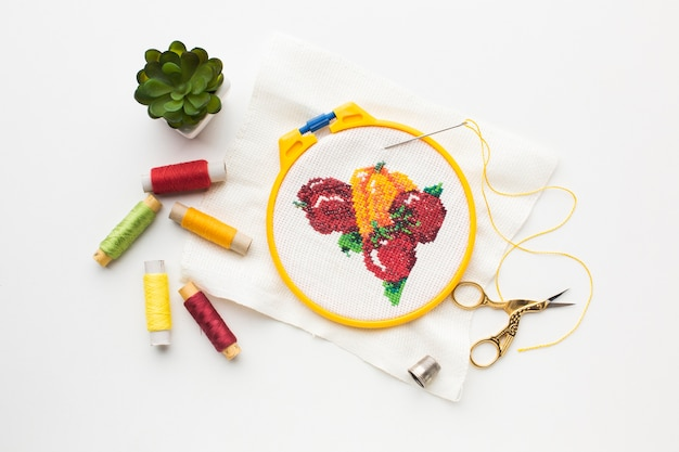 Fruit sewed design with sewing threads and plant Free Photo