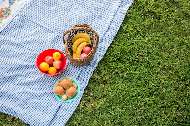Fruits basket and baked bread on blanket over the green grass Free Photo