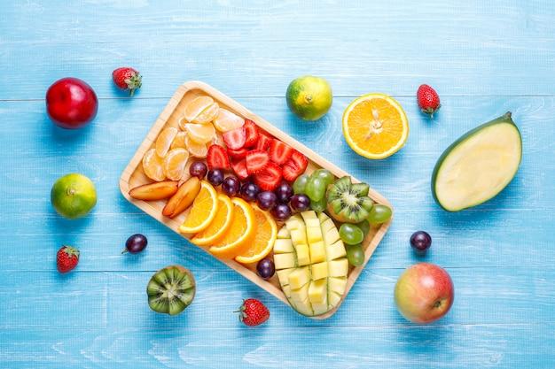 Fruits and berries platter,vegan cuisine. Free Photo