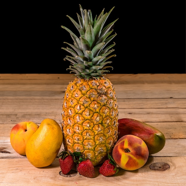 Fruits on a wooden table Premium Photo