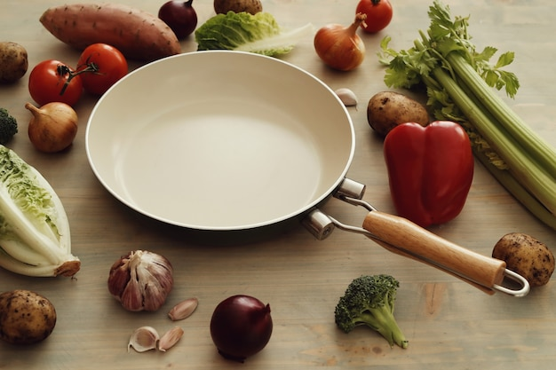 Frying pan with vegetables Free Photo