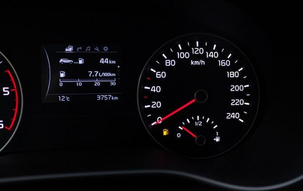 Fuel consumption theme  empty tank indicator on car dashboard Photo