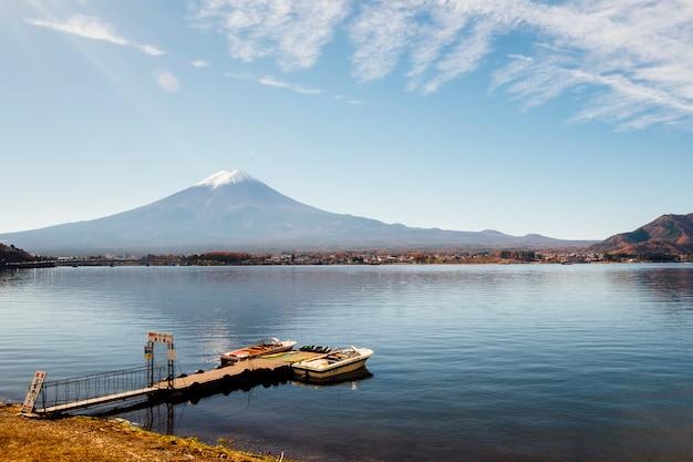 Fuji mountain and pier at kawaguchiko lake, japan Free Photo