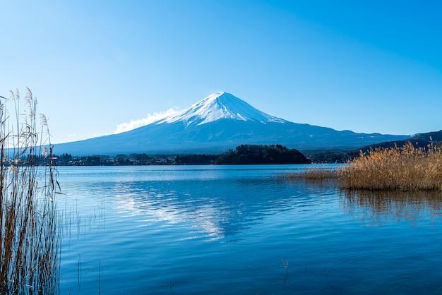 Гора фудзи с озером кавагутико и голубым небом Premium Фотографии