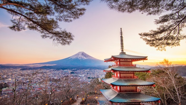 Fujiyoshida, japan at chureito pagoda and mt. fuji at sunset Premium Photo