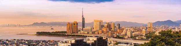 Fukuoka cityscape kyushu sunset panorama Premium Photo