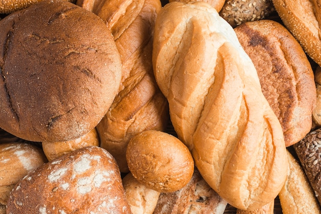 Full frame of baked breads with various shape Free Photo