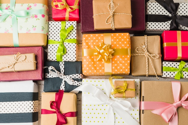 Full frame of beautiful decorated various gift boxes Free Photo