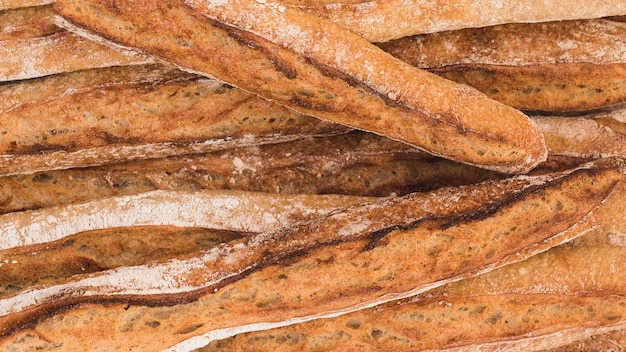 Full frame of rustic baguettes Free Photo