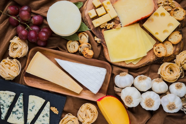 Full frame of vivid cheese and ingredients with grapes Free Photo