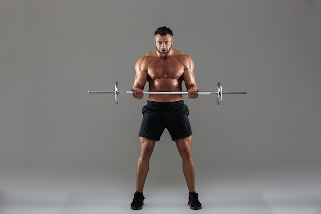 Full length portrait of a muscular strong shirtless male bodybuilder Free Photo