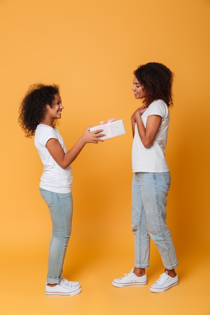 Full length portrait of a two joyful afro american sisters Free Photo