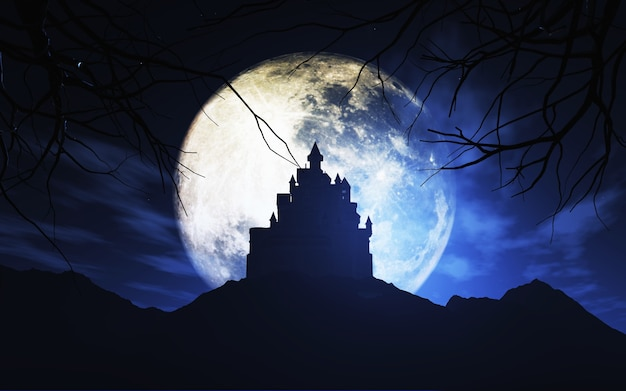 Il rendering 3d di uno sfondo di halloween con un castello spettrale contro un cielo chiaro di luna Foto Gratuite