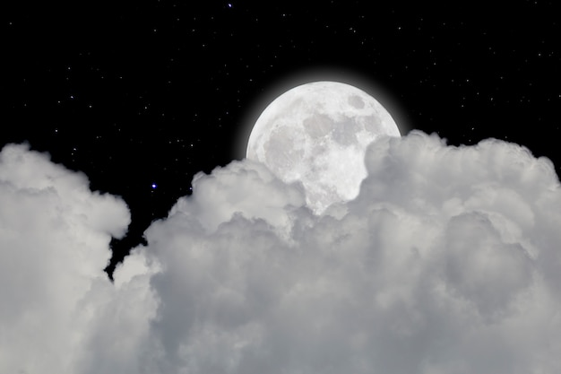 Full moon with starry and clouds background. dark night. Premium Photo