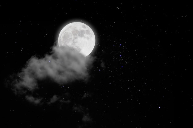 Full moon with starry and clouds. romantic night. Premium Photo