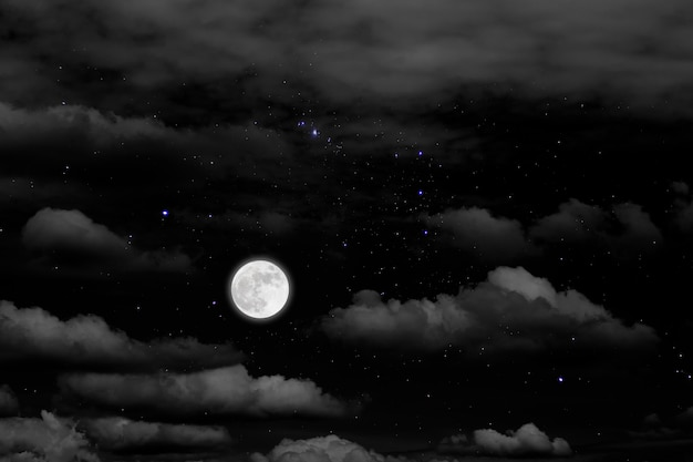 Full moon with starry and clouds Premium Photo