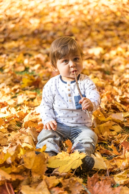 Full shot cute baby playing with stick Free Photo