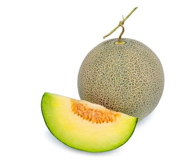 Full and slice cantaloupe melon isolated on white background. Premium Photo