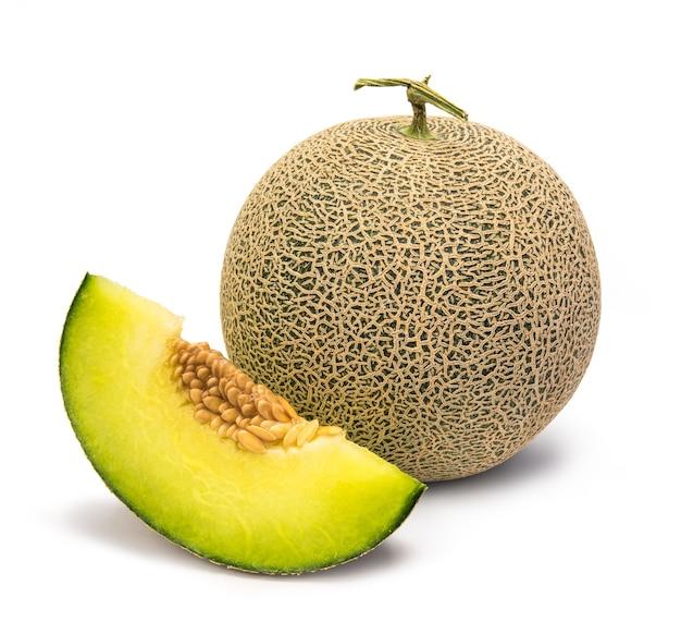 Full and slice cantaloupe melon isolated on white space. Premium Photo