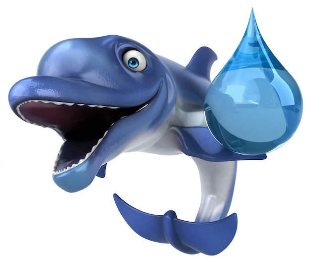 Fun дельфин - 3d иллюстрации Premium Фотографии