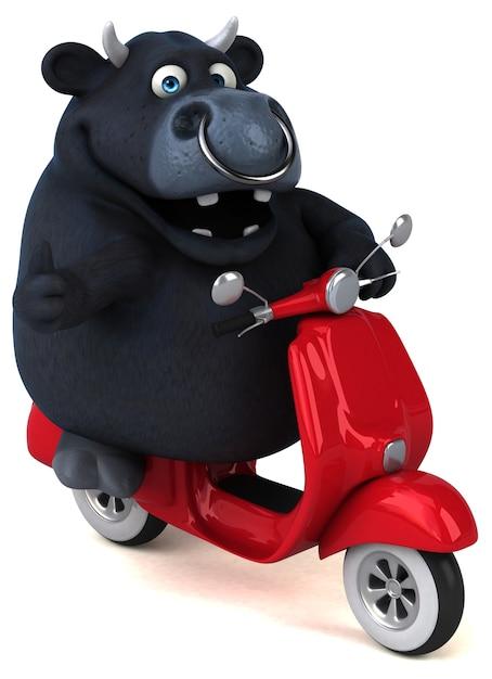Fun black bull - 3d illustration Premium Photo