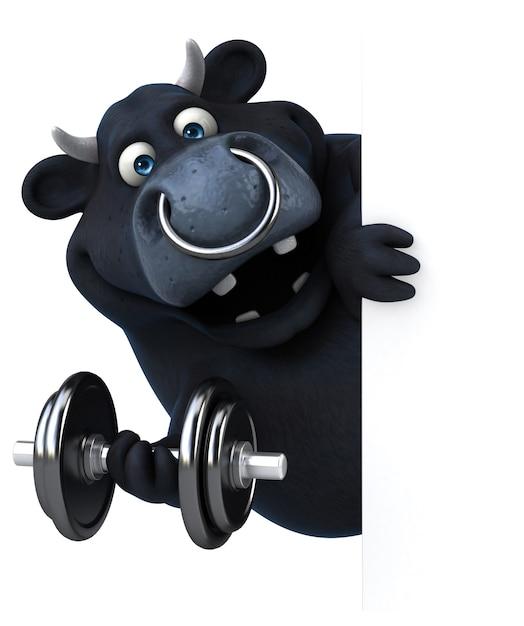 Веселая анимация черного быка Premium Фотографии