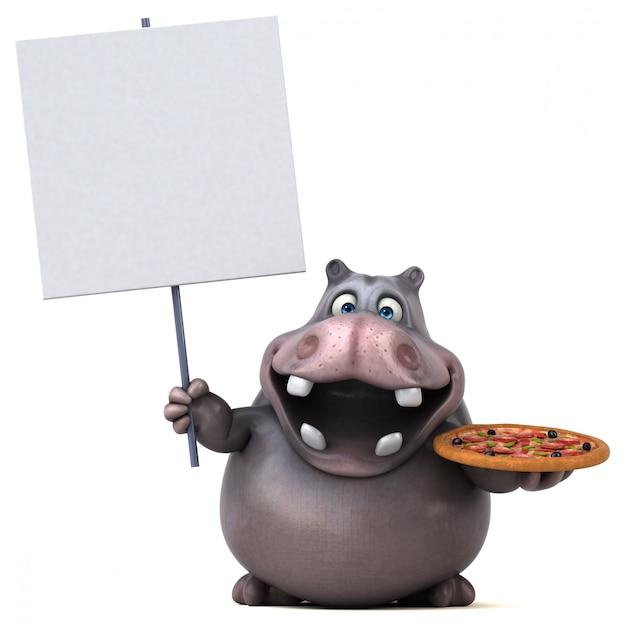 Веселая анимация бегемота Premium Фотографии