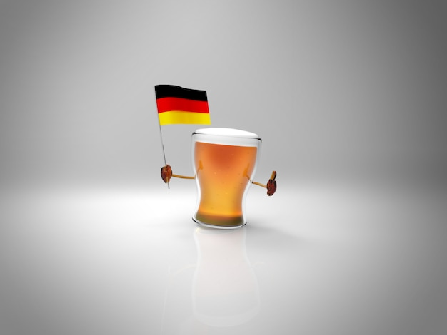 Fun illustrated beer character holding the flag of deutschland Premium Photo