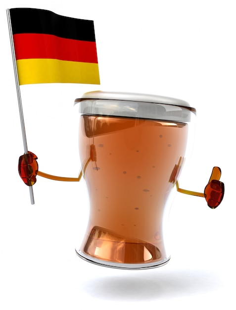 Fun illustrated beer character holding the flag of germany Premium Photo