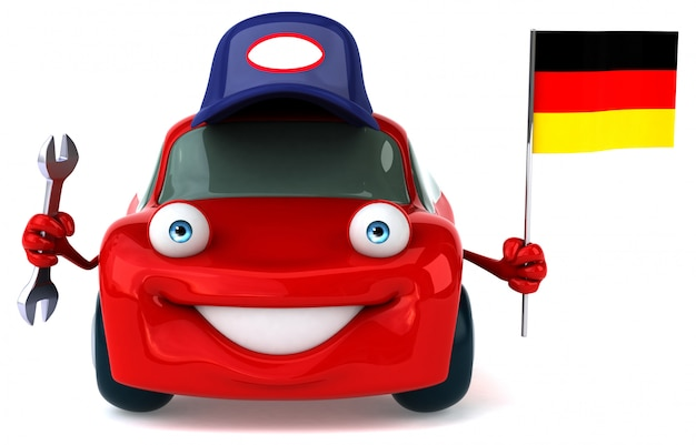 Fun illustrated car holding the flag of germany Premium Photo