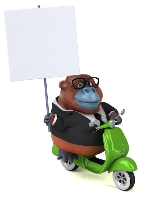 Fun orang outan - 3d illustration Premium Photo