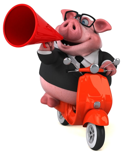 Fun pig - 3d illustration Premium Photo