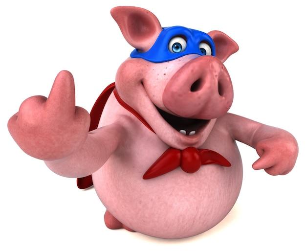 Иллюстрация весело свинья Premium Фотографии