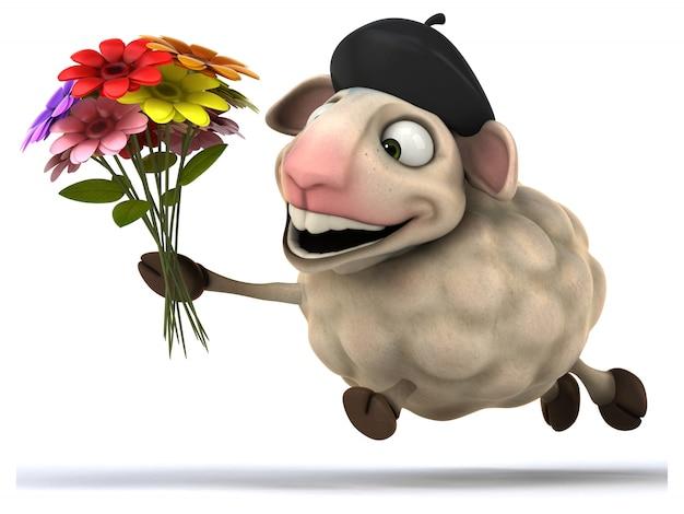 楽しい羊のアニメーション Premium写真