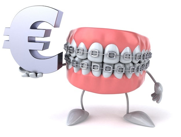 Fun teeth - 3d character Premium Photo